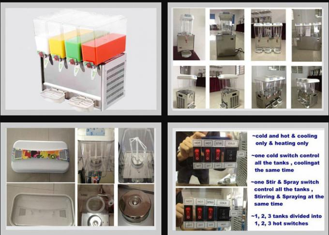 9L×4 Mixing and Spraying Cold Juice Dispenser Refrigerated Beverage Dispenser