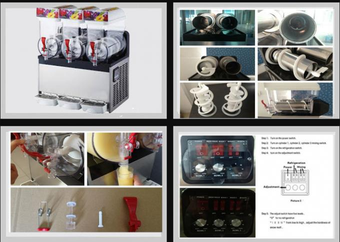 15L*3 500W Stainless Steel Ice Slush Machine With Three Tanks For Beverage