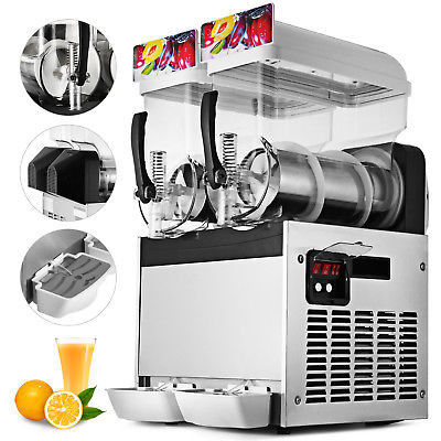 Commercial 15L Two Tank Frozen Slush Machine Ice Slush Machine For Restaurant