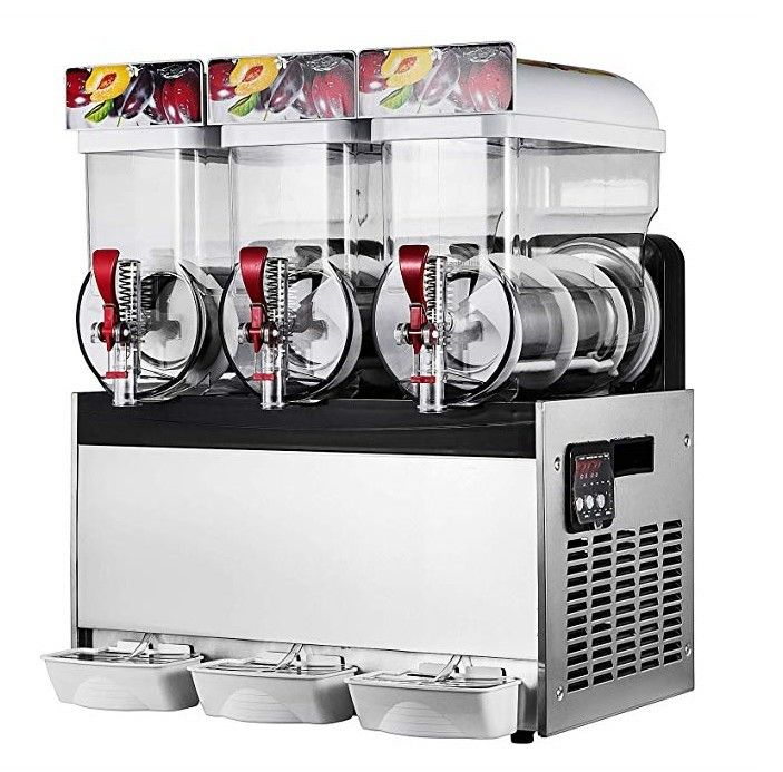 500W Stainless Steel Ice Slush Machine With Three Tanks For Beverage 15L×3