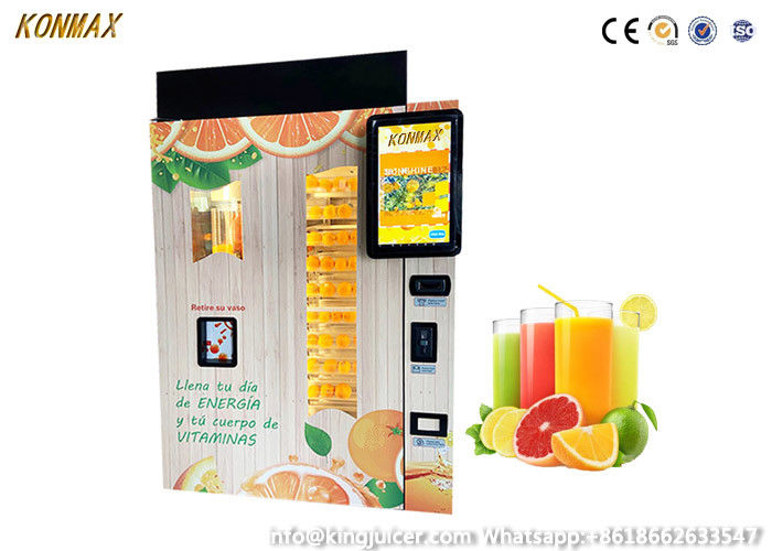 Shopping Mall Commercial Orange Juice Vending Machine Coins And Notes Acceptors