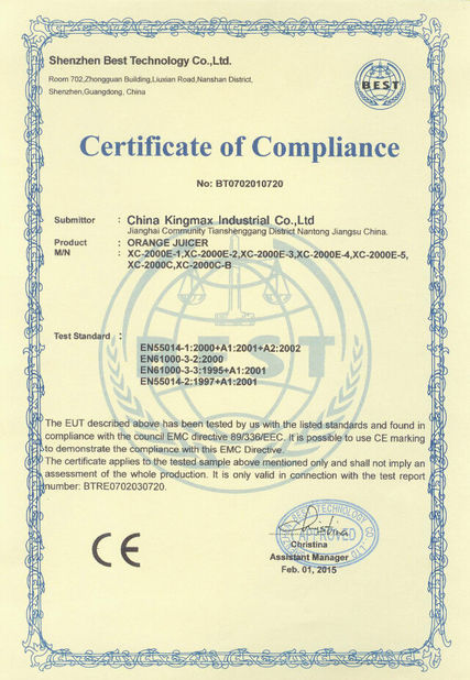 China China Kingmax Industrial Co.,ltd. certification