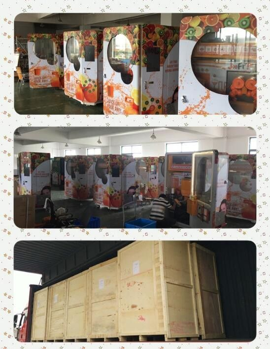 Shopping Mall Commercial Orange Juice Vending Machine Coins And Notes Acceptors 1