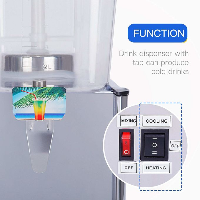 10 Liters Cold Drink Dispenser Machine / Fruit Juice Dispenser with Paddle Stirring System
