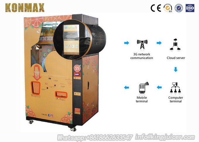 Shopping Mall Commercial Orange Juice Vending Machine Coins And Notes Acceptors 3