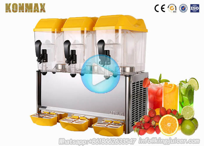 3 tank restaurant beverage dispenser with capacity 54 liters / Cold Juice Dispenser