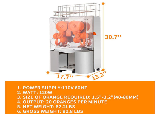 Professional Industrial Automatic Orange Juice Maker , Automatic Orange Squeezer Counter Top